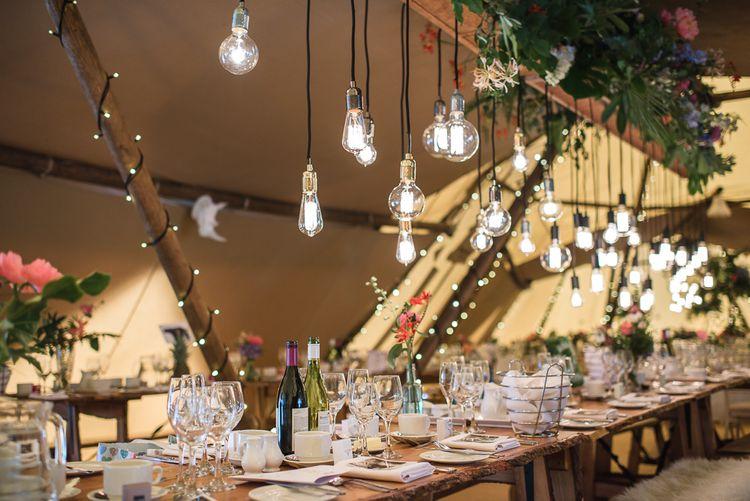 Edison Light Bulb & Floral Installation For Wedding