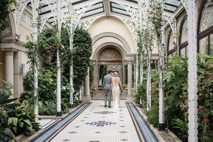 Orangery For Wedding Photos // Woodstock Festival Inspired Wedding With Bespoke Dress And Floral Bridesmaids Dresses At Sandon Hall Images By Emma Hare Photography