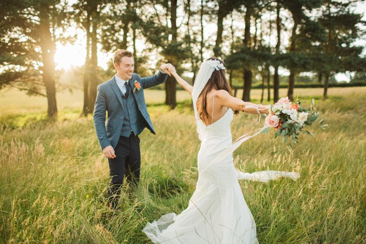 Bride in 'Wren' Wedding Dress from Willowby by Watters