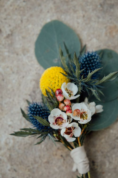 Rustic Buttonhole With Mustard Detail & Waxflowers