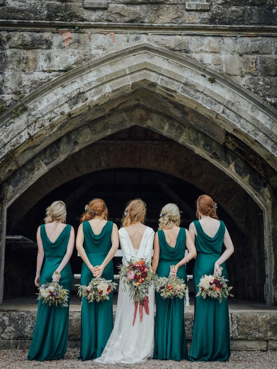 Glasshouse Wedding At Crom Castle With Bride In Halfpenny London Bridesmaids In Forest Green Silk Dresses By Ghost Images From Salt & Sea Photography Co.