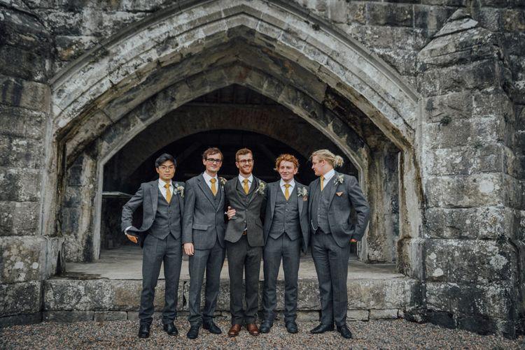 Groom & Groomsmen In Grey Tweed
