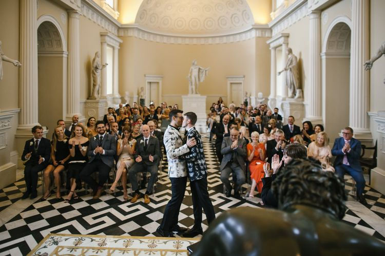 Two Grooms in Alexander McQueen Suits | Monochrome Wedding at Syon Park London | Chris Barber Photography | Second Shooter Beatrici Photography