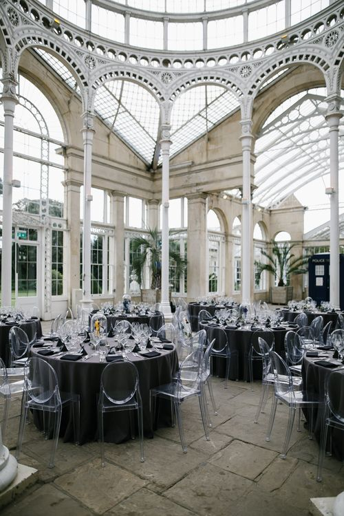 Monochrome Wedding at Syon Park London | Ghost Chairs | Chris Barber Photography | Second Shooter Beatrici Photography