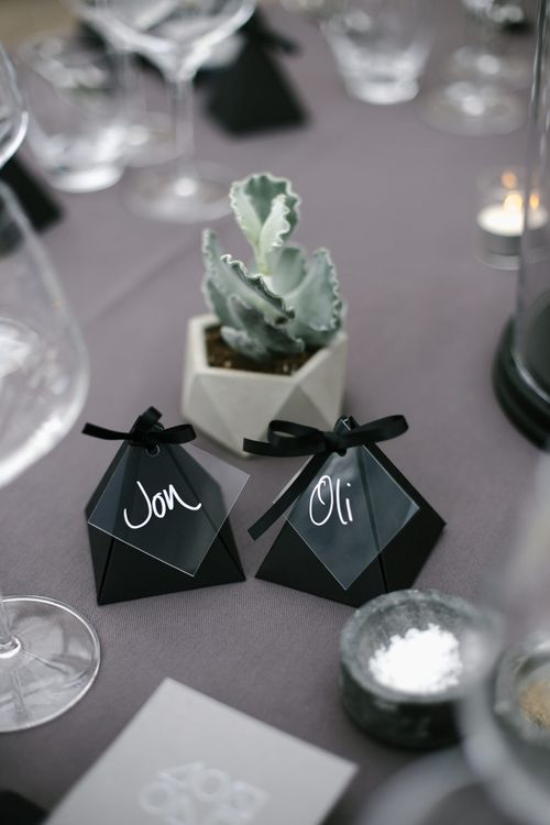 Succulent Wedding Decor & Geometric Table Names | Monochrome Wedding at Syon Park London | Chris Barber Photography | Second Shooter Beatrici Photography