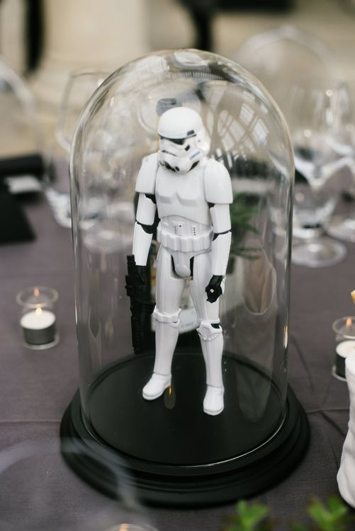 Iconic 80s Figure (Storm Trooper - Star Wars) in Bell Jar Table Centrepiece Wedding Decor | Monochrome Wedding at Syon Park London | Chris Barber Photography | Second Shooter Beatrici Photography