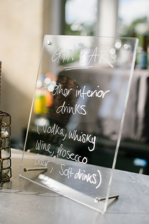 Perspex Bar Sign | Monochrome Wedding at Syon Park London | Chris Barber Photography | Second Shooter Beatrici Photography