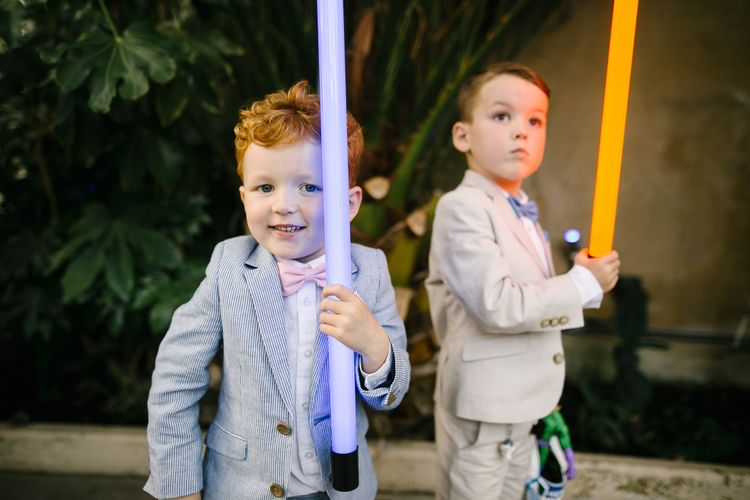 Page Boys in Outfits from John Lewis & Light Sabars | Monochrome Wedding at Syon Park London | Chris Barber Photography | Second Shooter Beatrici Photography