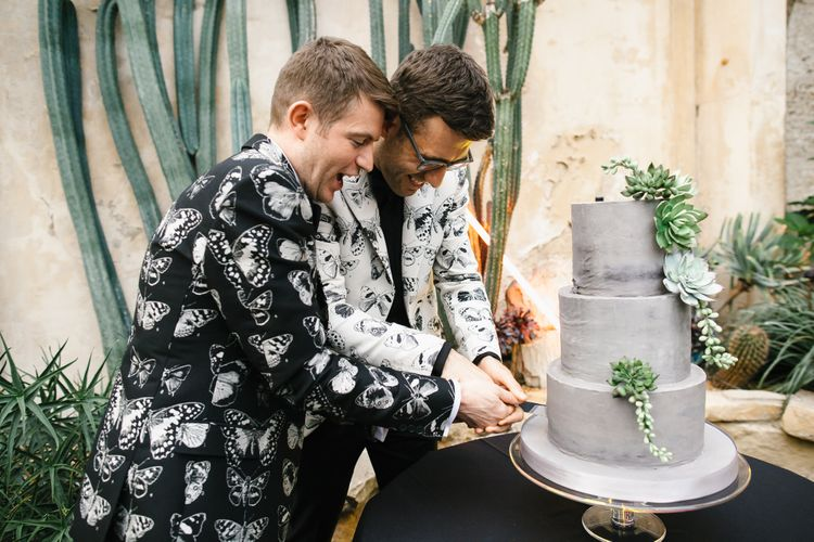 Cutting the Cake | Two Grooms in Alexander McQueen Suits | Monochrome Wedding at Syon Park London | Chris Barber Photography | Second Shooter Beatrici Photography