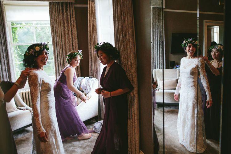 Bride wears Dana Bolton   Carlowrie Castle, Edinburgh   Scotland Wedding   Images by Fraser Stewart