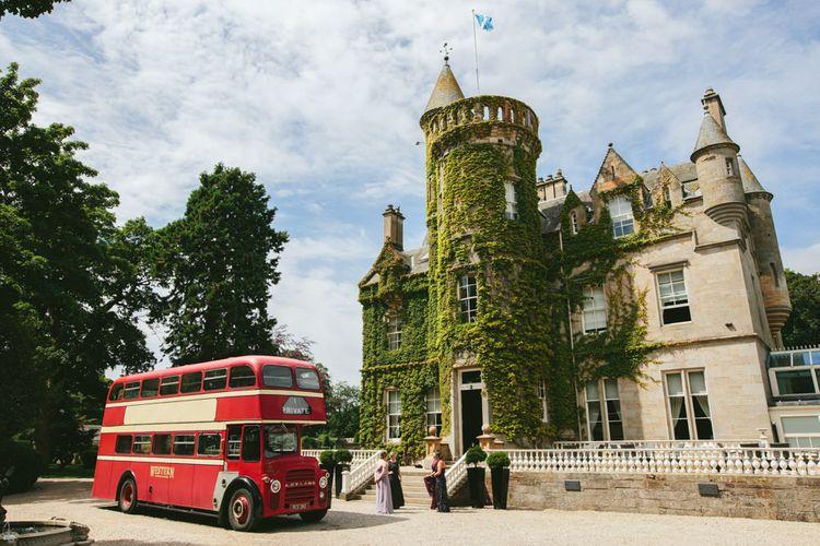 Vintage Bus's for transport   Carlowrie Castle, Edinburgh   Scotland Wedding   Images by Fraser Stewart