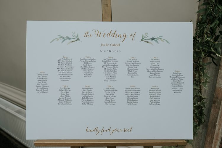 Simple Elegant Table Plan For Wedding // Hampton Court House Wedding With Pastel Flowers & White Hanging Lanterns With Children's Entertainment & Images From Joanna Nicole Photography
