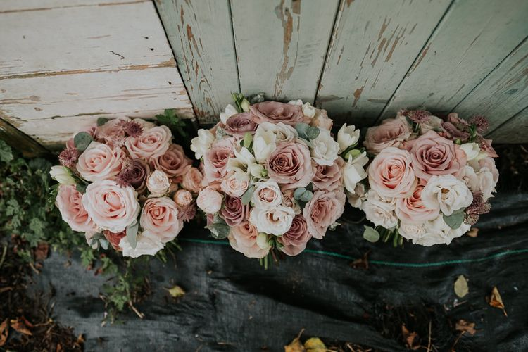 Wedding Bouquets With Roses // Hampton Court House Wedding With Pastel Flowers & White Hanging Lanterns With Children's Entertainment & Images From Joanna Nicole Photography
