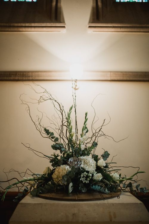 White Hydrangea & Greenery Floral Arrangement