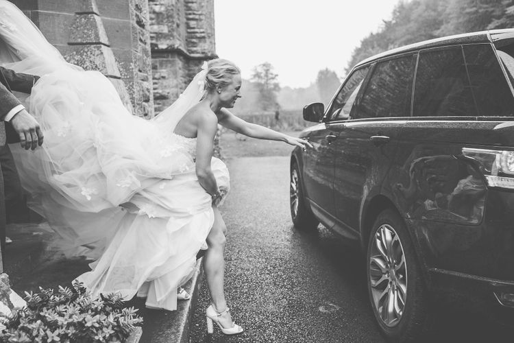 Bride in Bespoke Ian Stuart Gown with Detachable Tulle Skirt