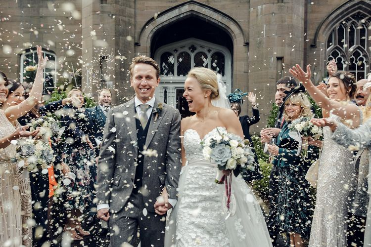 Confetti Moment with Bride in Bespoke Ian Stuart Gown with Detachable Tulle Skirt