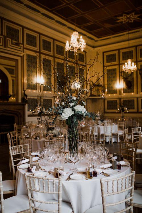 Tall Hydrangea & Twig Wedding Table Centrepiece