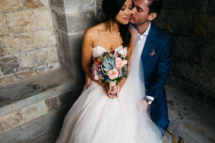 Bride in Modern Trousseau Eveline Wedding Dress   Groom in Suit Supply   Stefano Santucci Studio Photography   Second Shooter Giuseppe Marano   Gattotigre Films