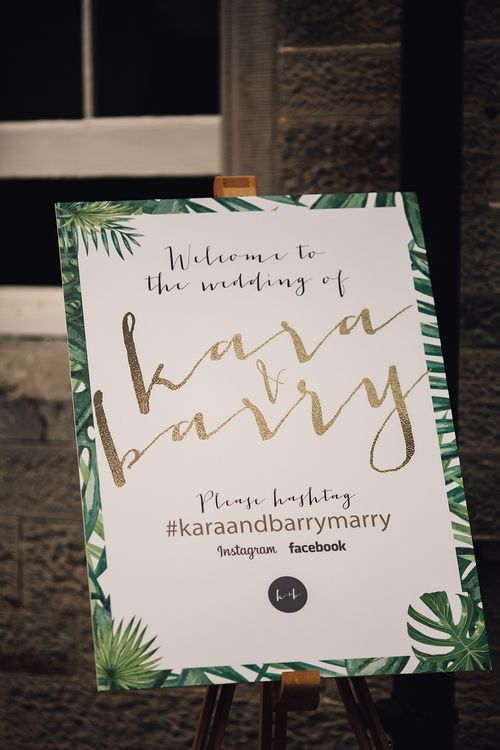 Green Fern Wedding Welcome Sign