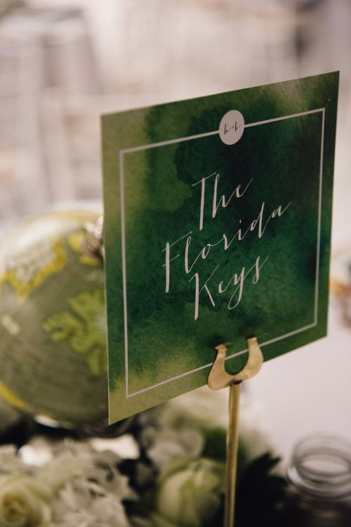 Green Fern Table Name Wedding Stationery