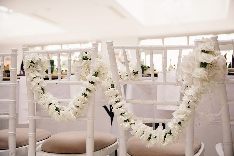 White Carnation Chair Back Floral Garlands