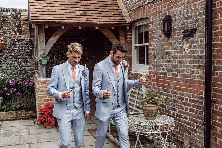 Groomsmen in Light Grey Burton Suits   Rustic At Home Tipi Reception with Blush Colour Scheme   Jason Mark Harris Photography   Harris Films
