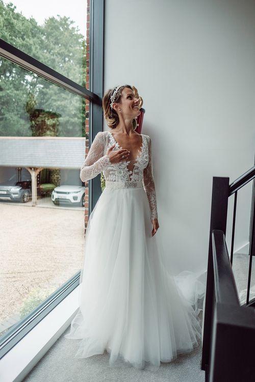 Bride in Anna Georgina Wedding Gown & Augusta Jones Tulle Skirt   Traditional Church Wedding Ceremony with Blush Colour Scheme   Jason Mark Harris Photography   Harris Films
