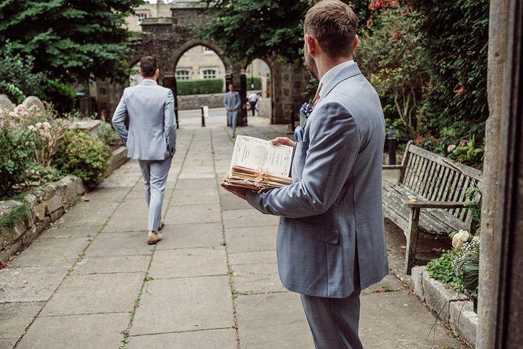Groomsmen in Light Grey Burton Suits   Traditional Church Ceremony with Blush Colour Scheme   Jason Mark Harris Photography   Harris Films