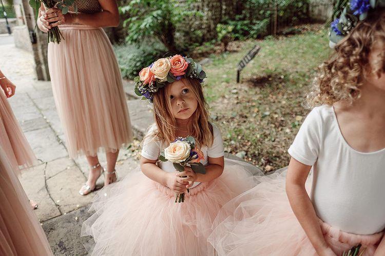 Flower Girl with Flower Crown   Traditional Church Wedding Ceremony with Blush Colour Scheme   Jason Mark Harris Photography   Harris Films
