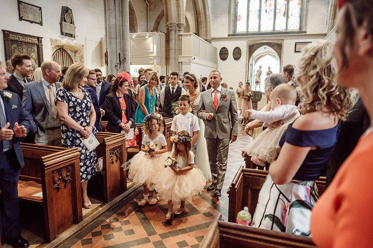 Bridal Party Entrance   Traditional Church Wedding Ceremony with Blush Colour Scheme   Jason Mark Harris Photography   Harris Films