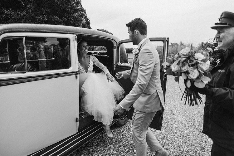 Vintage Rolls Royce   Bride in Anna Georgina Wedding Gown & Augusta Jones Tulle Skirt   Groom in Light Grey Burton Suit   Traditional Church Wedding Ceremony with Blush Colour Scheme   Jason Mark Harris Photography   Harris Films