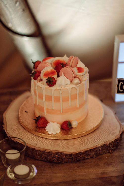 Single Tier Drip Wedding Cake with Macaroon Top   Rustic At Home Tipi Reception with Blush Colour Scheme   Jason Mark Harris Photography   Harris Films