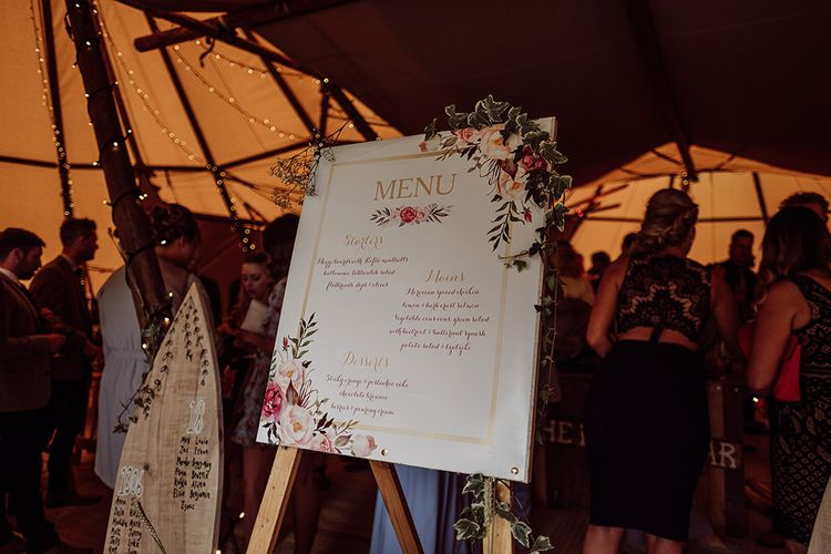 Illustrated Menu Sign   Rustic At Home Tipi Reception with Blush Colour Scheme   Jason Mark Harris Photography   Harris Films