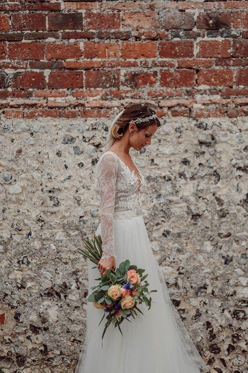Bride in Anna Georgina Wedding Gown & Augusta Jones Tulle Skirt   Rustic At Home Tipi Reception with Blush Colour Scheme   Jason Mark Harris Photography   Harris Films