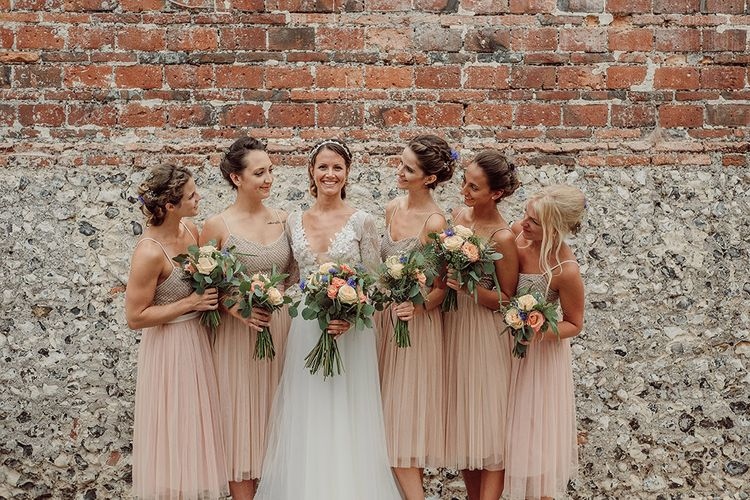 Bridesmaids in Blush Needle & Thread Dresses   Rustic At Home Tipi Reception with Blush Colour Scheme   Jason Mark Harris Photography   Harris Films