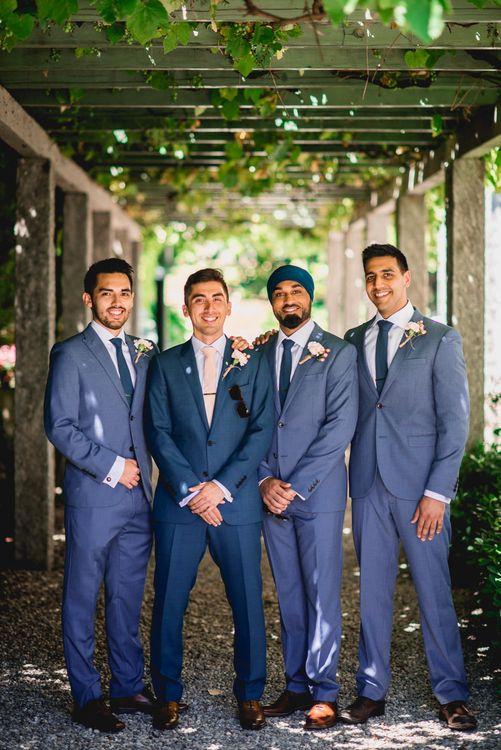 Groom in Thom Sweeney Suit & Groomsmen in Next Suits