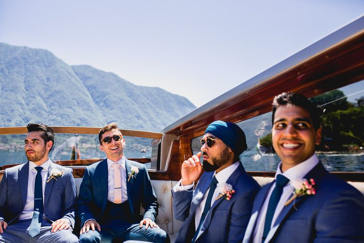 Groomsmen in Navy Blue Next Suits