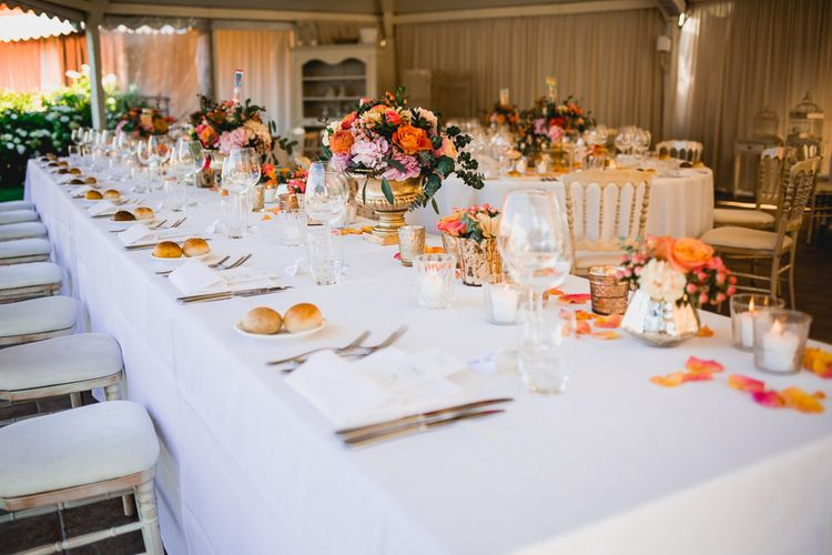 Gold, Coral & Peach Reception Table Flowers & Decor