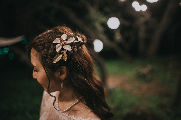 Beautiful Floral Hair Piece For Bride | Images By Matt Horan Photography