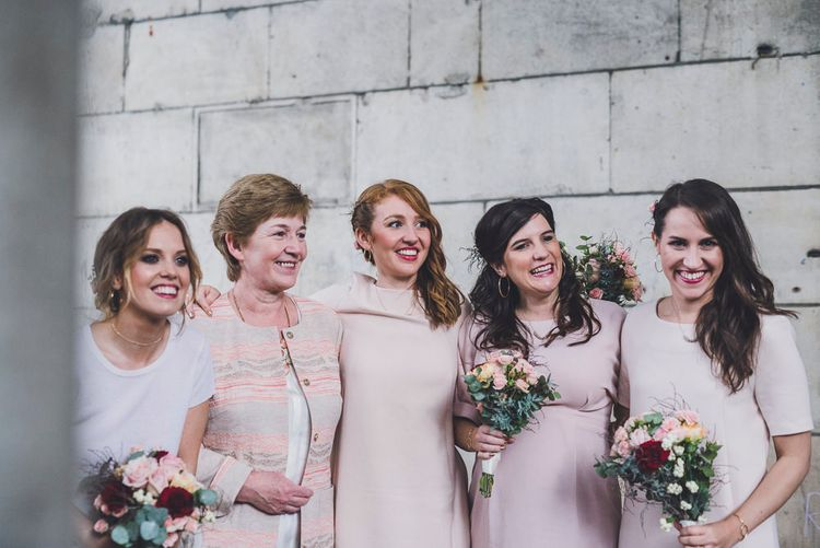 Bridesmaids In Pink Shift Dresses