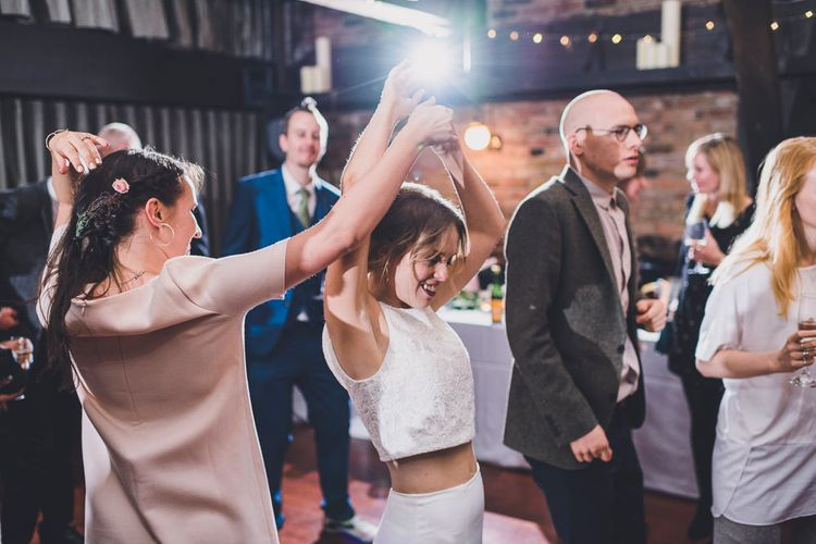 Bride In Cashmere Jumper Inspired By Olivia Palermo And Bridesmaids In Pink Shift Dresses For A Relaxed London Pub Wedding Images O&C Photography