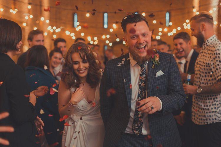 Stylish Bride in Alice Temperley Wedding Dress & Groom in Gucci Suit