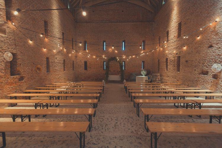 Fairy Lights in the Rustic Tithe Barn Wedding Venue