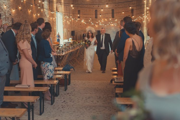 Bridal Entrance in Alice Temperley Wedding Dress