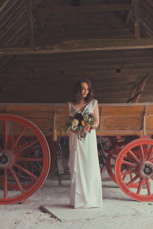 Stylish Bride in Alice Temperley Wedding Dress