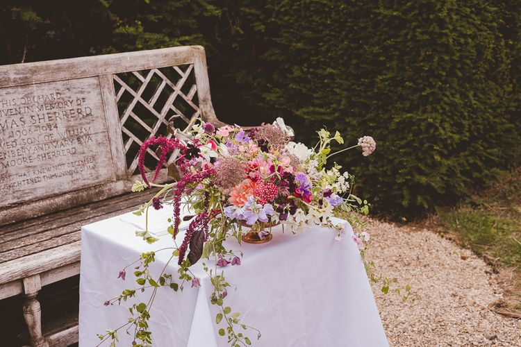 Wild Floral Arrangement | Outdoor Ceremony at Sulgrave Manor Northamptonshire | Nicola Casey Photography