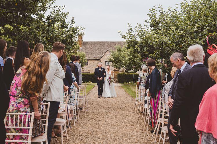 Outdoor Ceremony at Sulgrave Manor Northamptonshire | Bride in Charlie Brear Wedding Dress | Nicola Casey Photography