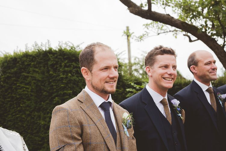 Groom in Brown Suit | Outdoor Ceremony at Sulgrave Manor Northamptonshire | Nicola Casey Photography