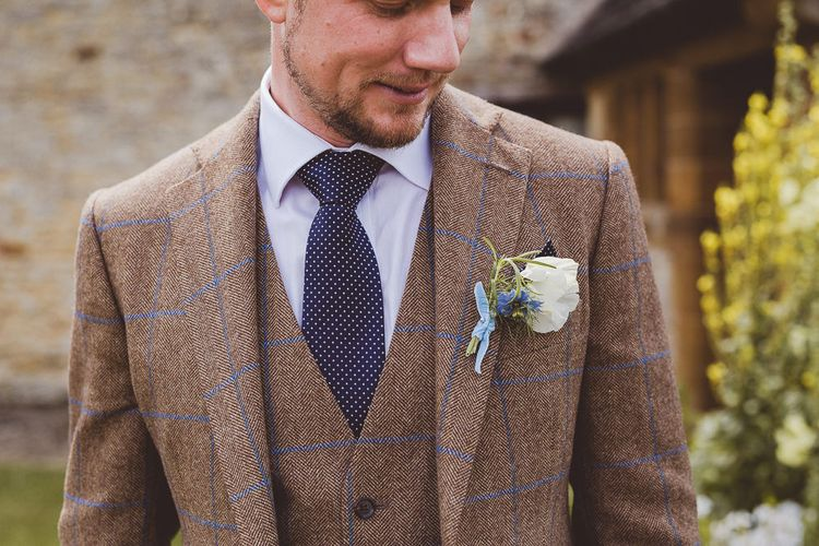 Groom in Brown Check Suit | Outdoor Ceremony at Sulgrave Manor Northamptonshire | Nicola Casey Photography