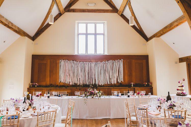 Ribbon Top Table Backdrop Wedding Decor | Outdoor Ceremony at Sulgrave Manor Northamptonshire | Nicola Casey Photography